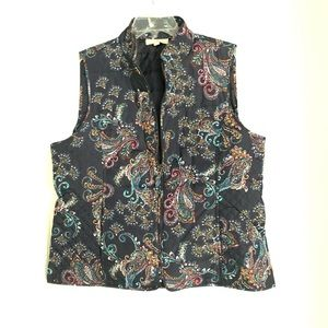 Talbots navy and paisley quilted vest sz L